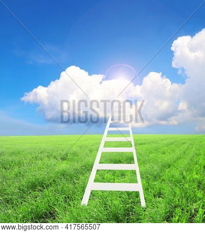 Concept - Ladder to heaven. Stair leading to white clouds in blue sky. Stepladder in green grass leading to sky. 3d render