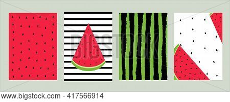 Watermelon Design Template Vector Illustration In Flat Design Set Of Patterns And Postcards With Sli