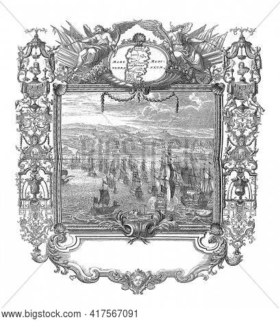 Sardinia conquered in the name of Charles III, vintage engraving.