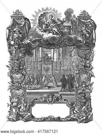 Coronation of Charles III to German Emperor Charles VI, 1711, vintage engraving.