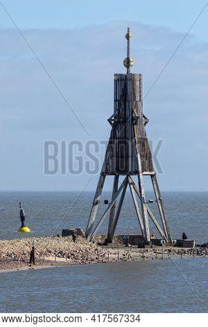 Kugelbake beacon, landmark of the city of Cuxhaven on Elbe river estuary