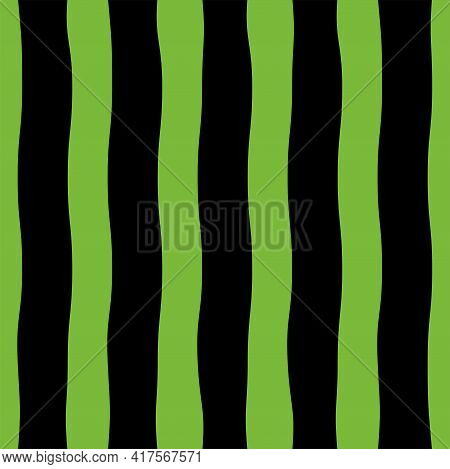 Watermelon Peel Vector Seamless Pattern In Flat Design Striped Texture In Two-tone Black And Greens