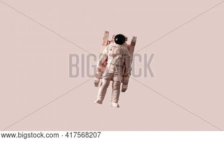 Astronaut pop art poster background. Beige color style. 3D render