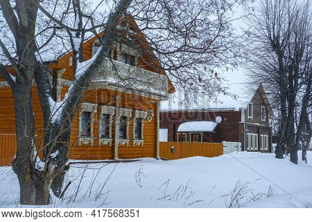 Suzdal, Russia - February, 22, 2021: Winter landscape with the image of  old russian town Suzdal