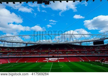 London, United Kingdom- Circa January, 2020: A Picture Of Empty Emirates Stadium During Weekend Whic