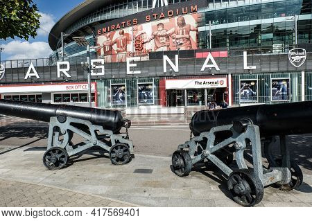 London, United Kingdom- Circa January, 2020: A Picture Of Outside Emirates Stadium With Iconic Canon