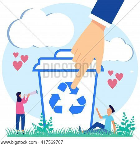 Vector Illustration Of Recycling Waste, Sorting And Selecting The Type Of Waste. Environmental Ecolo