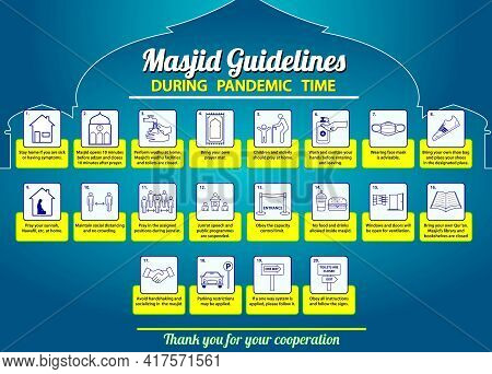 Set Of Rules Sign In Mosque Or Sign Do And Do Not Thing In Mosque Or Restricted During Month Ramadan