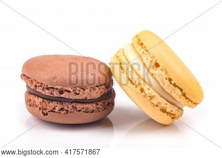 Sweet Delicous Macarone Over White Background. Shot In Studio.