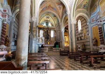 Corniglia, Liguria, Italy. June 2020. The Interior Of The Church Of San Pietro. From The Windows The