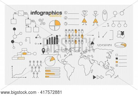 Demographic Infographics And Social Statistics. Doodle Style Icons Set. Hand Drawn World Map, Percen