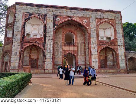 Editorial Dated:11th February 2020 Location: Delhi India, Humayun's Tomb. Tourist Enering Humayun's