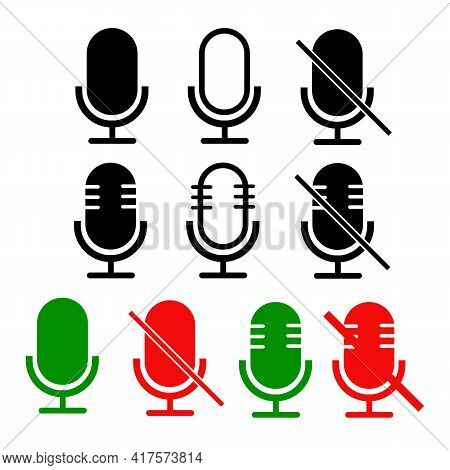 Mute And Unmute Audio Microphone Set. Microphone In Mute And Unmute Sign. Flat Style. Disable And Un