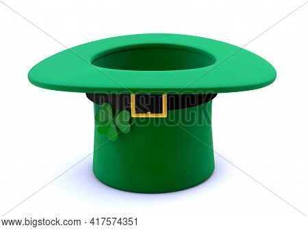 St. Patrick's Day. Green Leprechaun Hat With Clover Inverted Upside Down. Isolated On White Backgrou