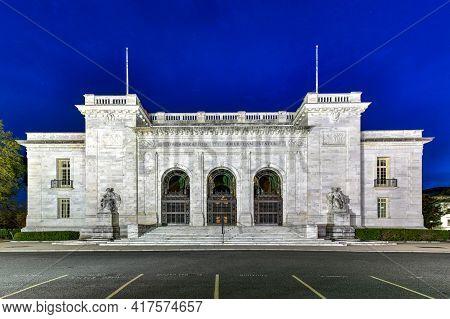 Washington, Dc - Apr 3, 2021: Organization Of American States Headquarters At Night In Washington Dc