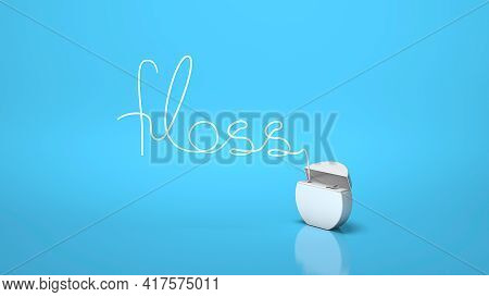 Dental Floss In The Form Of The Word Floss On A Blue Background. 3d Render.