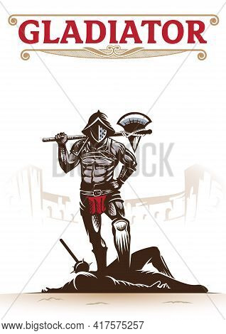 Gladiator. Vector Illustration For Book Cover, History Theme, Tshirt, Poster, Or Any Other Purpose.