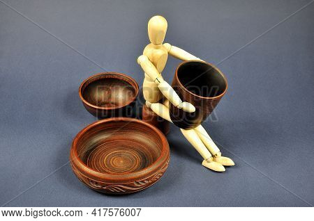 A Potter With Manufactured Brown Earthenware, Workshop.