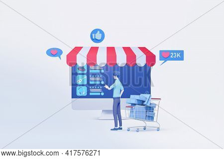 Man Shopping With Online Interface Application Display  3d Illustration  ,concept Of Online Shopping