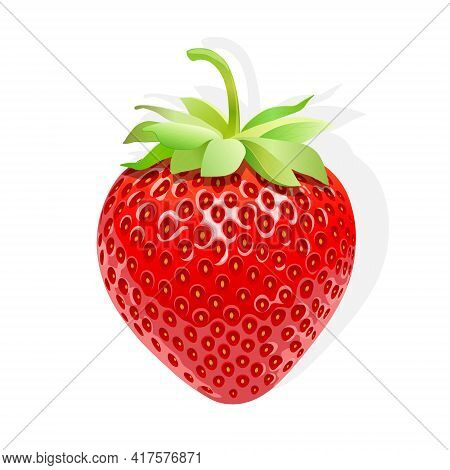 Strawberry; Food; Red; Fruit; Berry; Fresh; Leaf; Juicy; Realistic; Shiny; Graphic; Clipart; Product