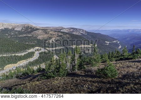 Looking Down On The Highway By The Continental Divide In Colorado, Usa