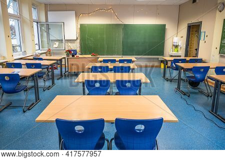 15.02.2021 Koblenz Germany Empty Classroom Corona Virus As School Are Closed Schools Stay Open Durin