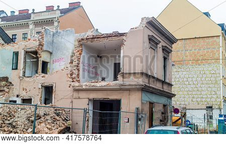 demolition of an old house. space for new construction