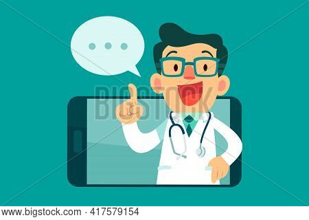 Doctor With Speech Bubble Giving Medical Advice Online From A Smart Phone Screen. Online Medical Adv