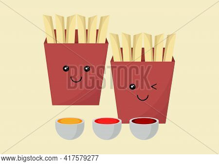 Illustration Of Packaged French Fries With Three Types Of Sauce With Different Flavors, Namely Chees