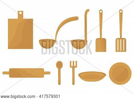 Collection Of Kitchen Utensils Made Of Wood With A Beautiful Wood Texture