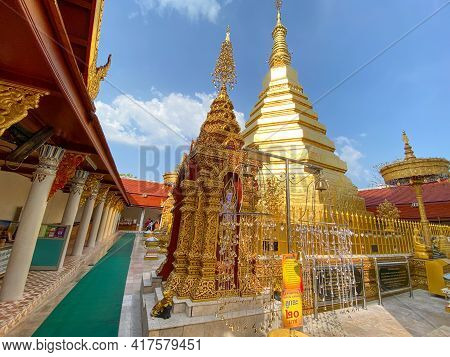 Phrae Thailand - 10 April 2021; Wat Phra That Cho Hae, The Royal Temple, Is A Sacred Ancient Temple