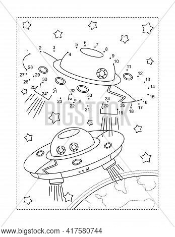 Two Ufo Spaceships In A Space Connect The Dots Full-page Picture Puzzle And Coloring Page