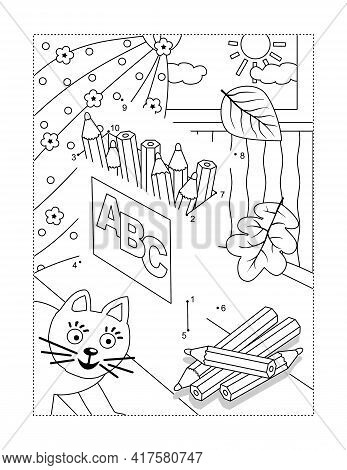 Box Of Pencils Connect The Dots Full-page Picture Puzzle And Coloring Page