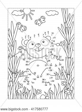 Cute Little Panda Bear In A Bamboo Fotest Connect The Dots Full-page Picture Puzzle And Coloring Pag