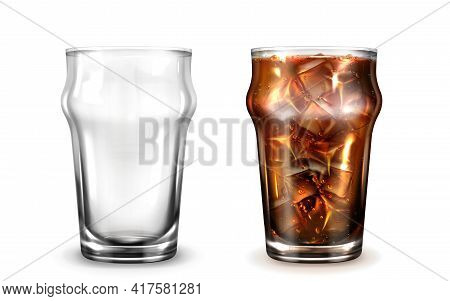 Cola, Ice Coffee Or Tea In Glass. Fizzy Cold Drink In Clear Cup With Condensation Drops. Vector Real