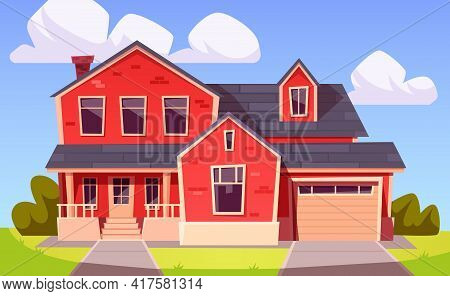 Suburban House, Residential Building From Red Brick With Garage. Vector Cartoon Illustration Of Vill