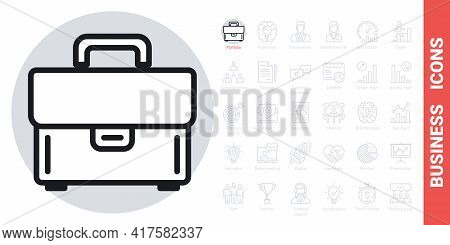 Briefcase Or Portfolio Icon. Simple Black And White Version From A Series Of Business Icons