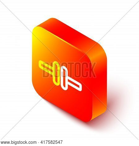 Isometric Line Electric Circuit Scheme Icon Isolated On White Background. Circuit Board. Orange Squa