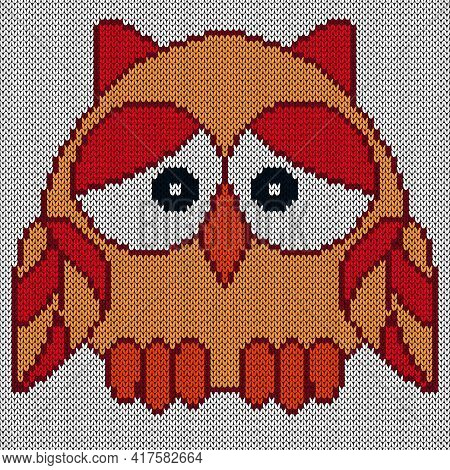 Knitting Of Funny Owl In Red And Orange Colors With Big Eyes On The Blue Background, Illustration Fo