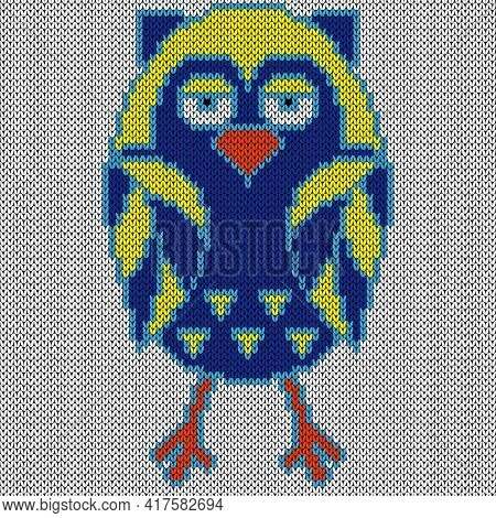 Knitting Of Cartoon Amusing Sleepy Owl In Blue And Yellow Hues, Illustration For Textile Production