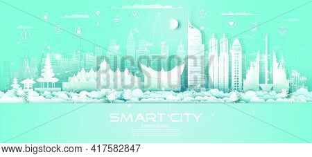 Technology Wireless Network Communication Smart City With Icon In Indonesia Downtown Skyscraper On B