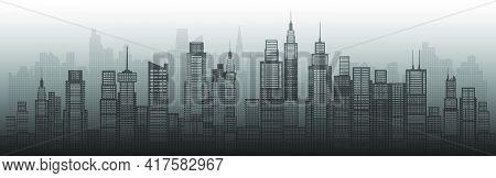 Modern Architecture City Skyscraper Abstract Of Building Architectural Art. Future Architectural Lan