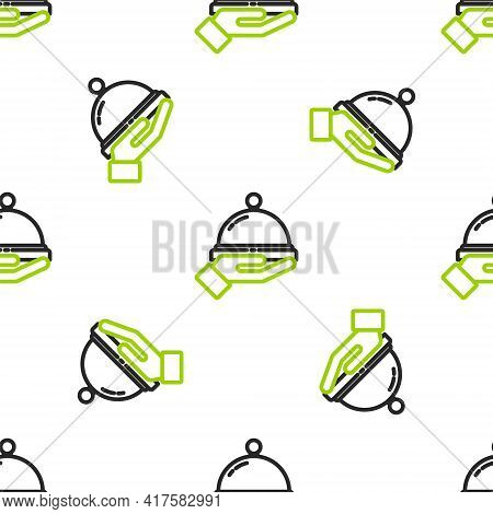 Line Covered With A Tray Of Food Icon Isolated Seamless Pattern On White Background. Tray And Lid Si
