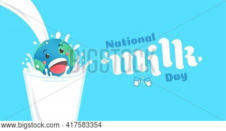 National Milk Day Flat Design Vector Illustration.world Smiling And Cheerful Cartoon Jumping On A Gl