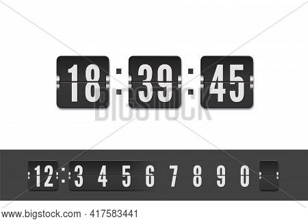 Analog Airport Board Countdown Timer With Hour Or Minute. Scoreboard Number Font. Vector Vintage Fli