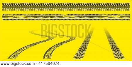 Tires Tracks, Offroad Grunge Tyre Prints, Abstract Automobile Wheels Black Pattern On Yellow Backgro
