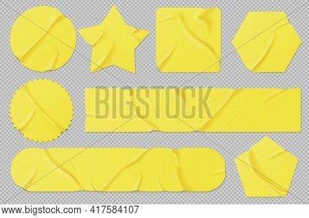 Yellow Paper Or Pvc Stickers, Adhesive Patches And Tapes. Blank Crumpled Labels Different Shapes. Ve