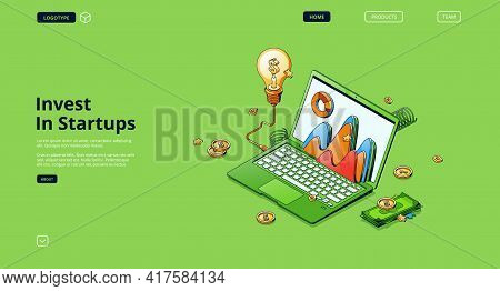 Invest In Startups Banner. Concept Of Finance Strategy Of Investment In Start Up Business, Innovatio