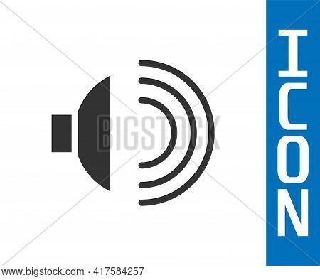 Grey Speaker Volume, Audio Voice Sound Symbol, Media Music Icon Isolated On White Background. Vector