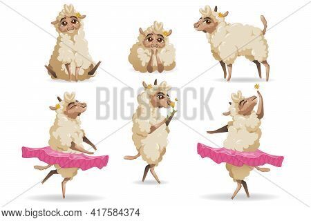Cute Sheep Animal Cartoon Set. Little Fluffy Lamb Mascot With Cute Face And Flower On Ear Wear Tutu,